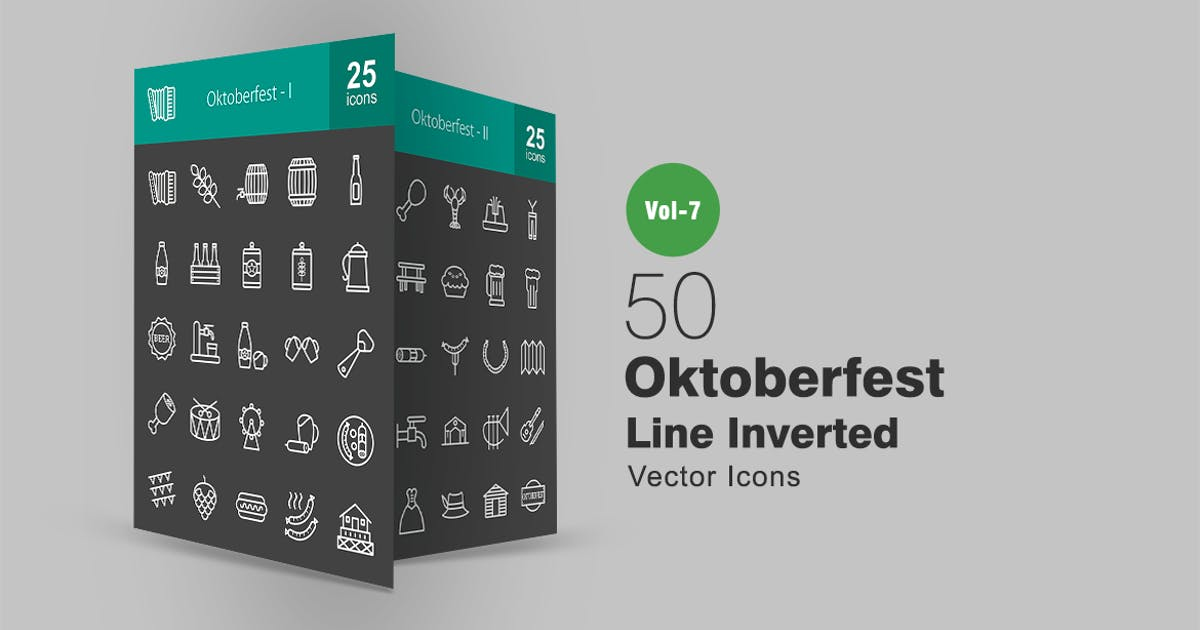 50 Oktoberfest Line Inverted Icons by IconBunny
