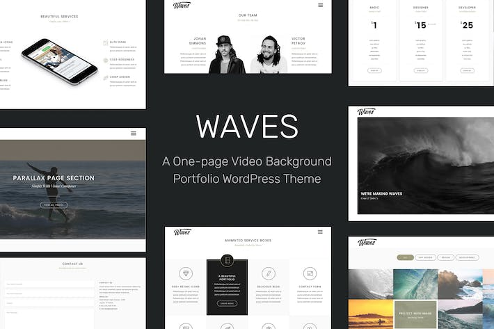 Thumbnail for Waves - Fullscreen Video One-Page WordPress Theme