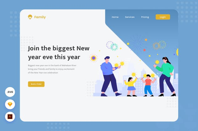 New Year Eve Party - Website Header - Illustration