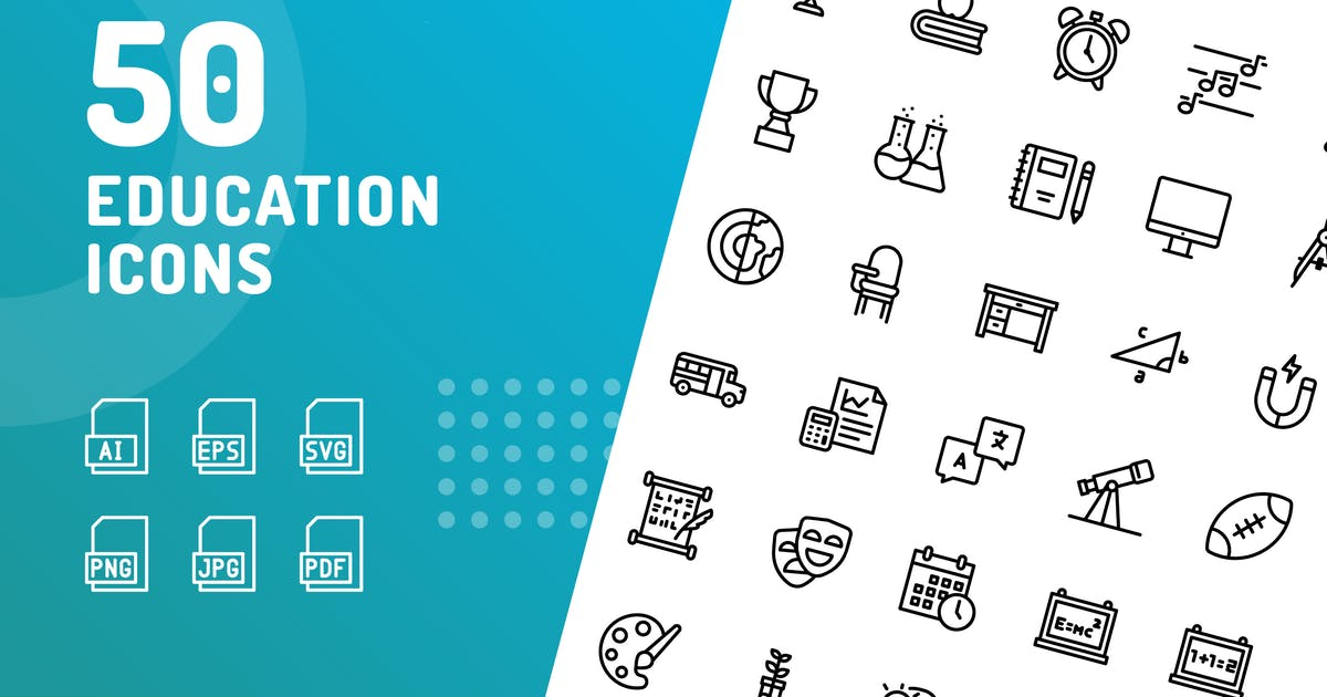 Download Education Line Icons by kerismaker