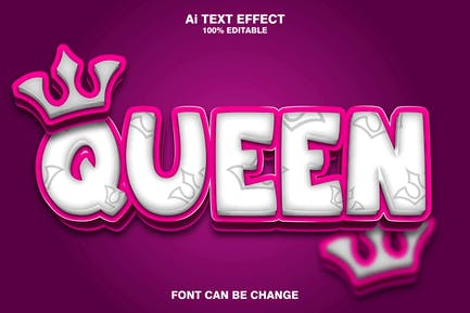 queen 3d text effect
