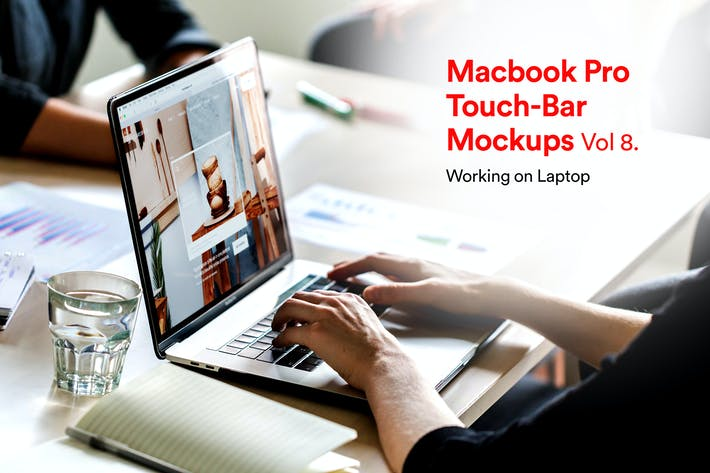 Thumbnail for Computer Mockups Vol 08 - Hands on Laptop