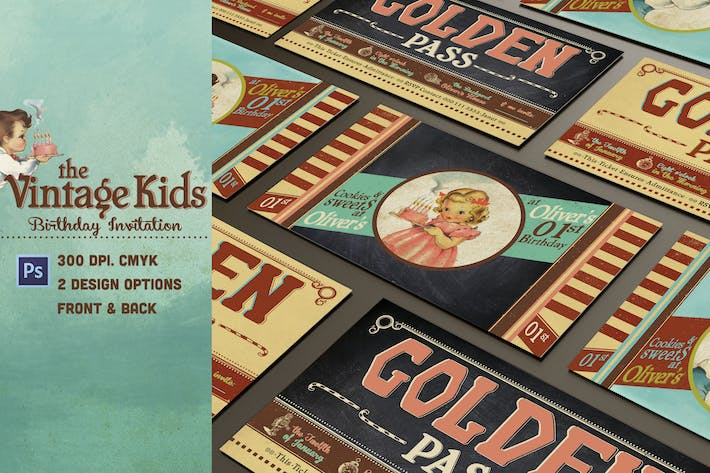Thumbnail for Vintage Kids Birthday Invitation