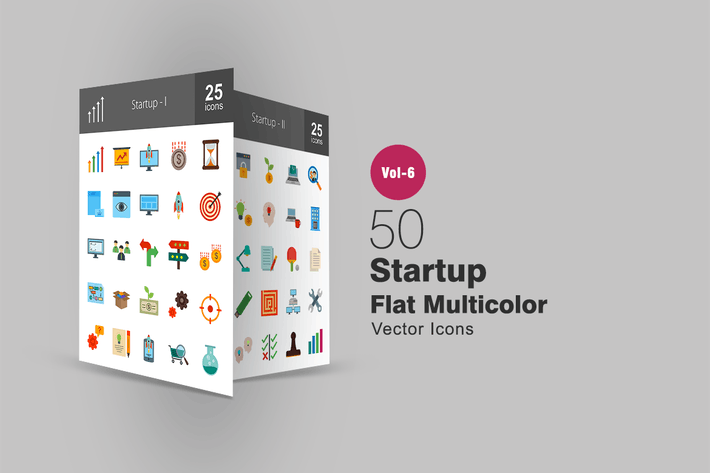 Thumbnail for 50 Startup Flat Multicolor Icons