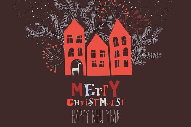Vector Christmas card with red houses and fir bran