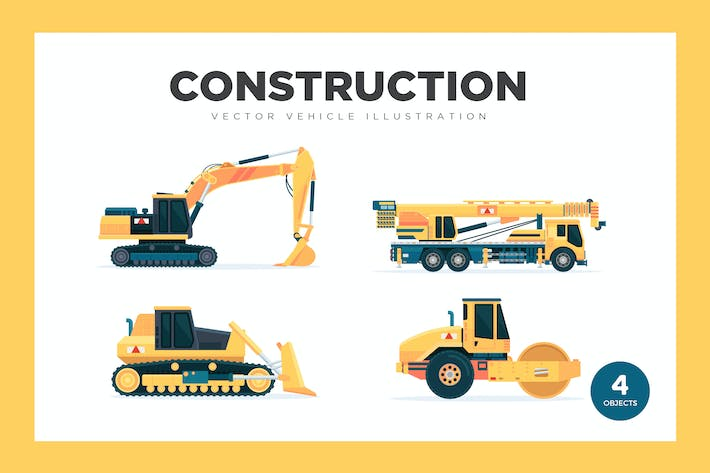 Thumbnail for Construction Vehicles Vector Set Illustration