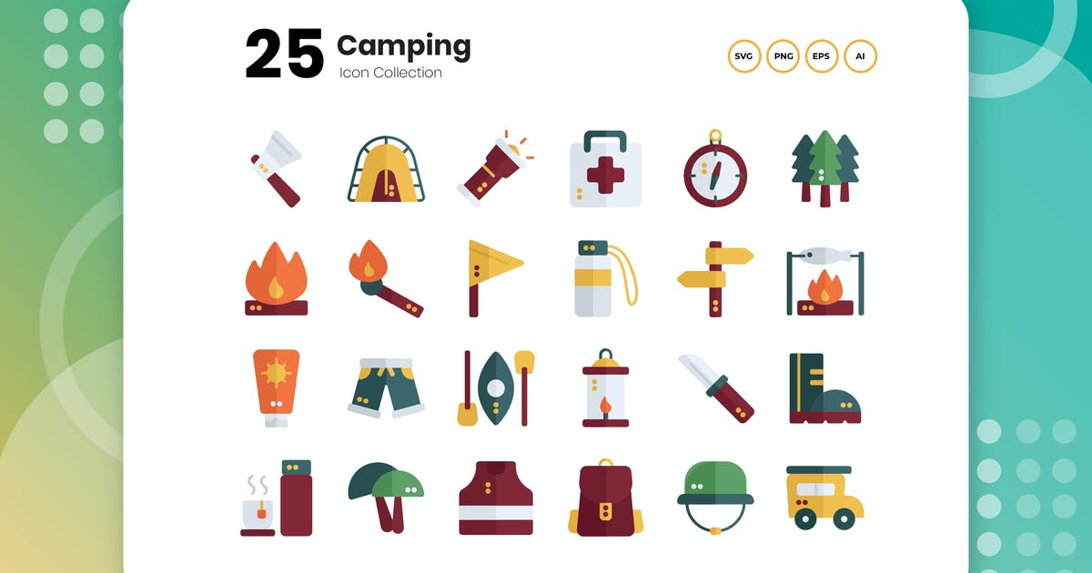 Download 25 Camping Flat Icon by vectorclans