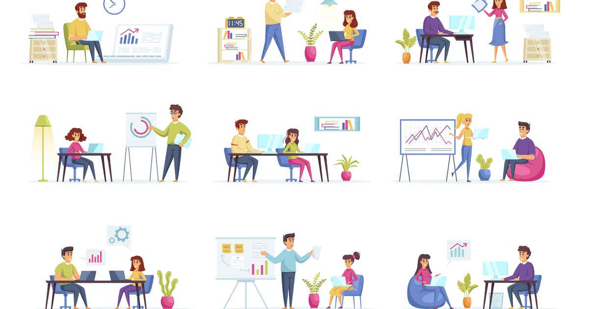 Download Management People Character Situation Scenes by alexdndz