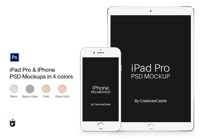 Thumbnail for iPhone & iPad Pro PSD Mockups in 4 Colors