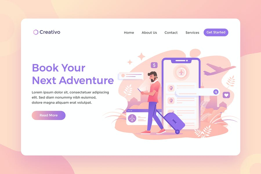 Book Your Next Adventure, Traveling Landing Page