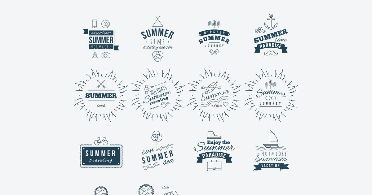 Download Retro hand drawn elements for Summer calligraphic by fet