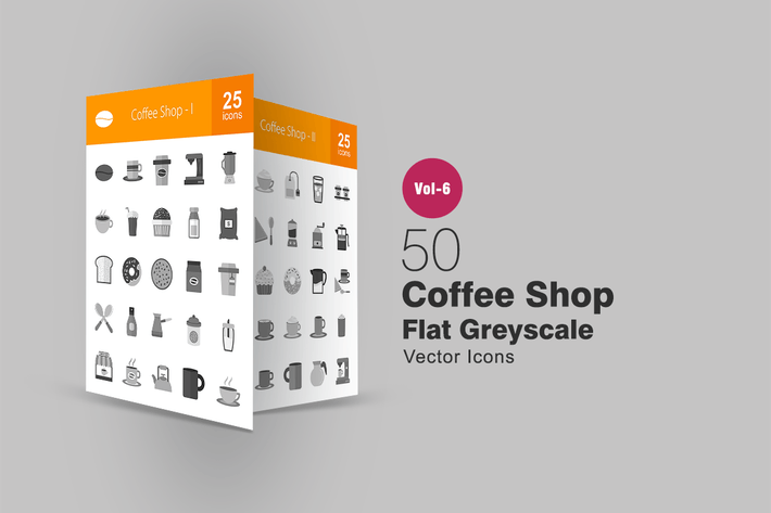 Thumbnail for 50 Coffee Shop Flat Greyscale Icons