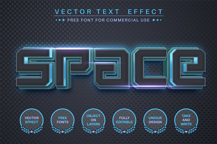 Space steel - editable text effect, font style
