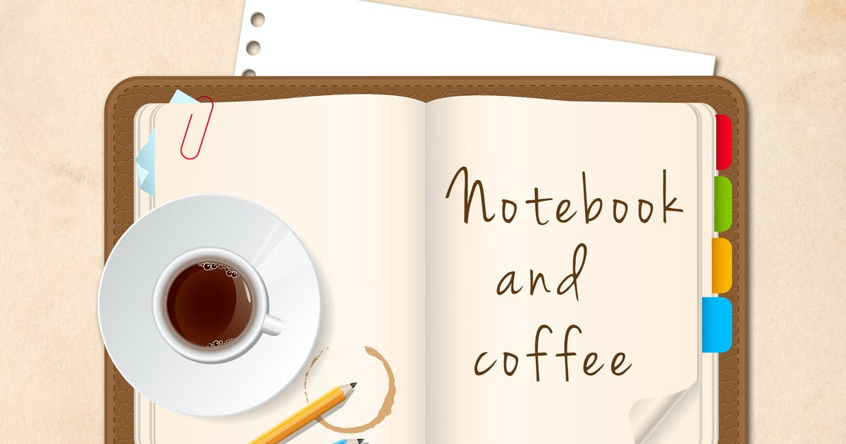Download Notebook and Coffee Cup by Artness