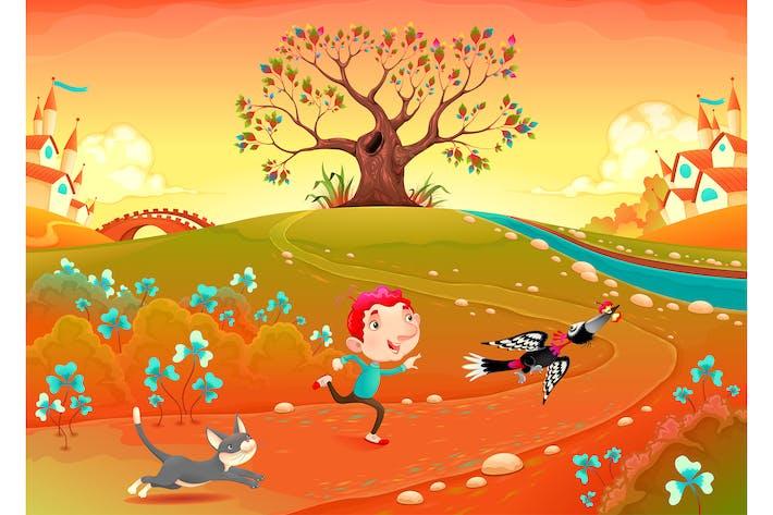 Thumbnail for Friendship Between a Boy, Woodpecker and Kitten