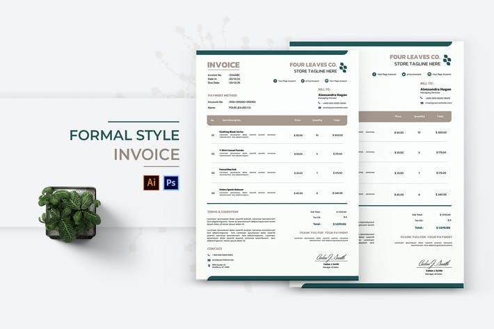 Thumbnail for Formal Style Invoice