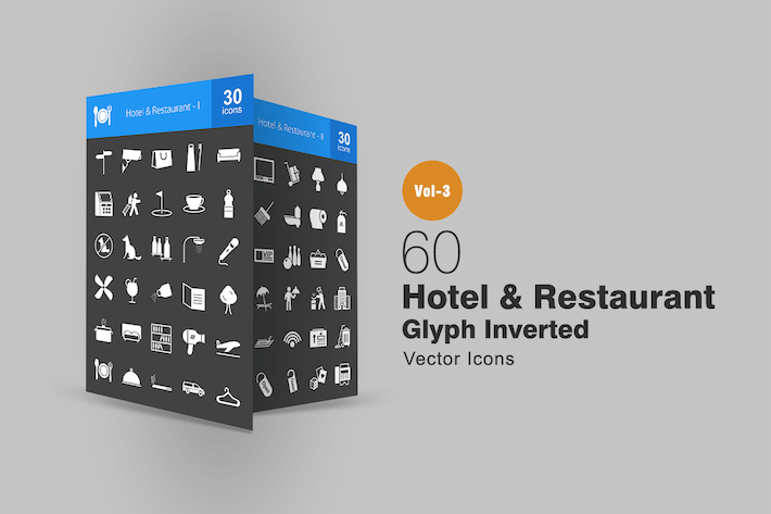 60 Hotel & Restaurant Glyph Inverted Icons