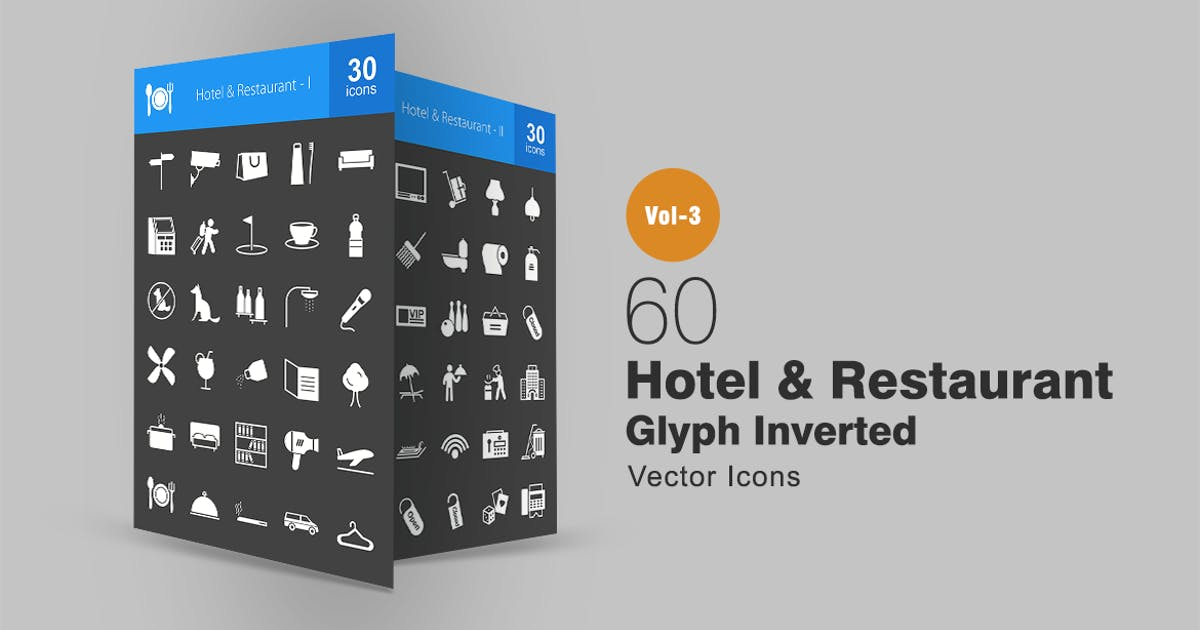 Download 60 Hotel & Restaurant Glyph Inverted Icons by IconBunny