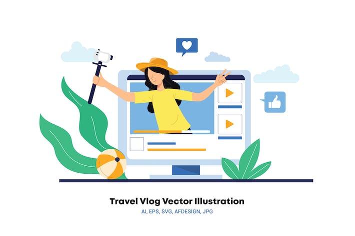 Travel Vlog Vector Illustration