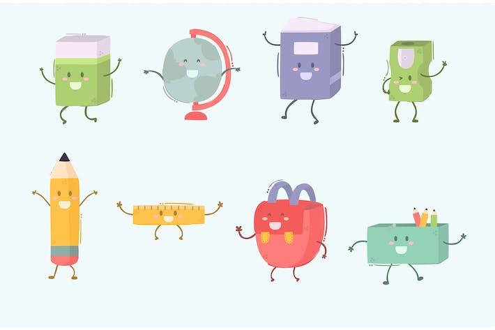 School Supply Items Characters Cartoon