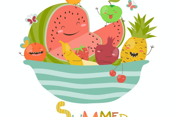 Thumbnail for Funny cartoon fruits in bowl. Vector