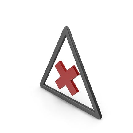 Symbol Road Sign with Cross Black and Red
