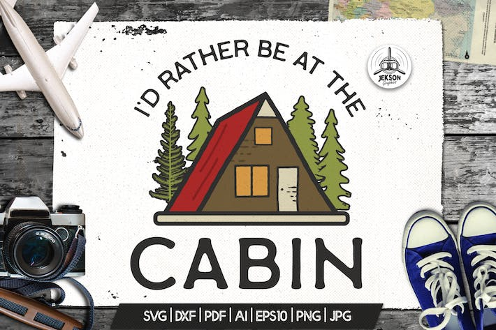Thumbnail for Camp Vector Patch - Cabin Adventure Retro Logo