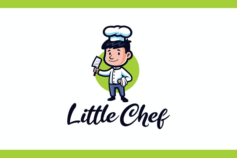 Cartoon Little Kid Chef Mascot Logo