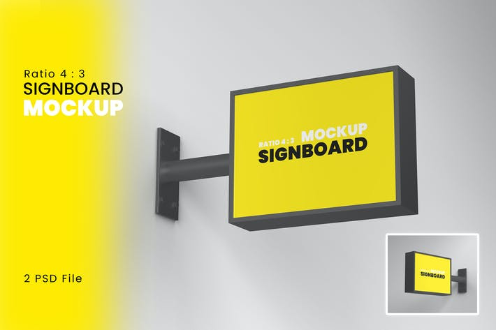 Thumbnail for 4 : 3 Signboard Mockup Vol 1