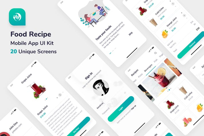 Thumbnail for Food Recipe Mobile App UI Kit