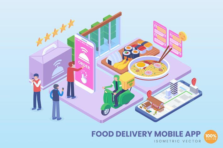 Thumbnail for Isometric Food Delivery Mobile App Concept