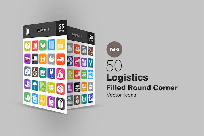 Thumbnail for 50 Logistics Flat Round Corner Icons