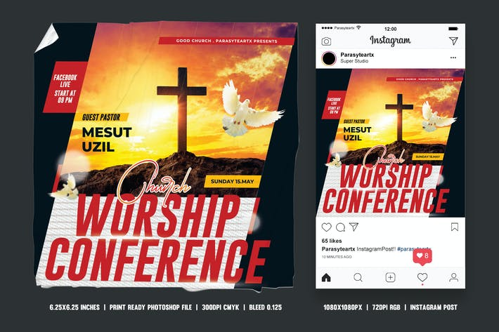 Thumbnail for Church Conference Square Flyer & Instagram Post