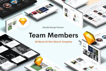 Teammitglieder Sketch Block UI Kits Website