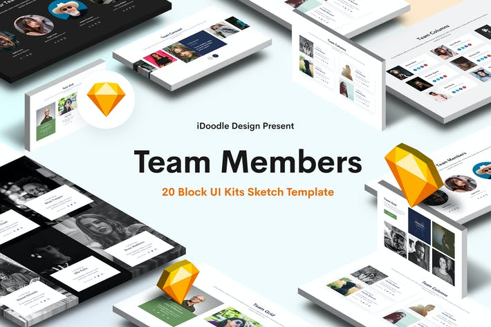 Thumbnail for Teammitglieder Sketch Block UI Kits Website
