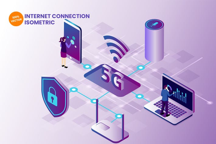 Thumbnail for Isometric Internet Connection 5G Vector