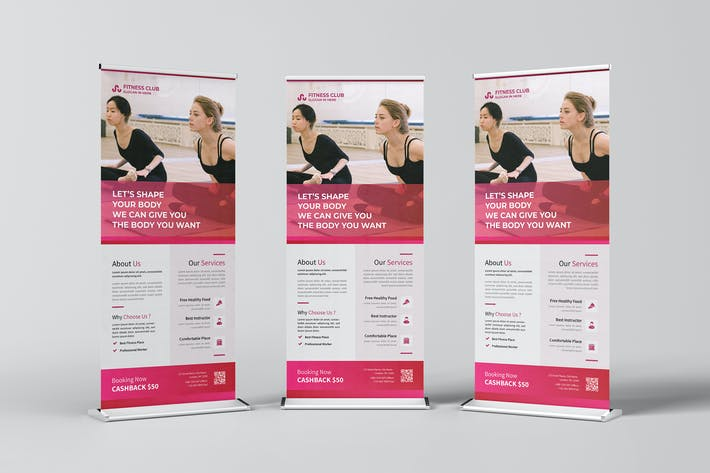 Fitness Club Roll Up Banner