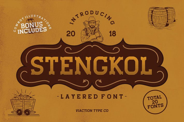 Thumbnail for Stengkol Layered Font
