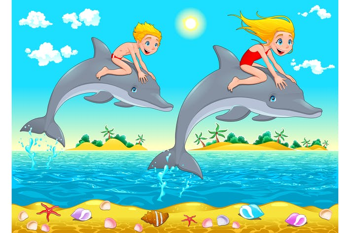 Thumbnail for Boy, Girl and Dolphin in the Sea