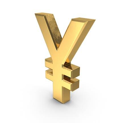 Japanisches Yen-Währungssymbol Gold