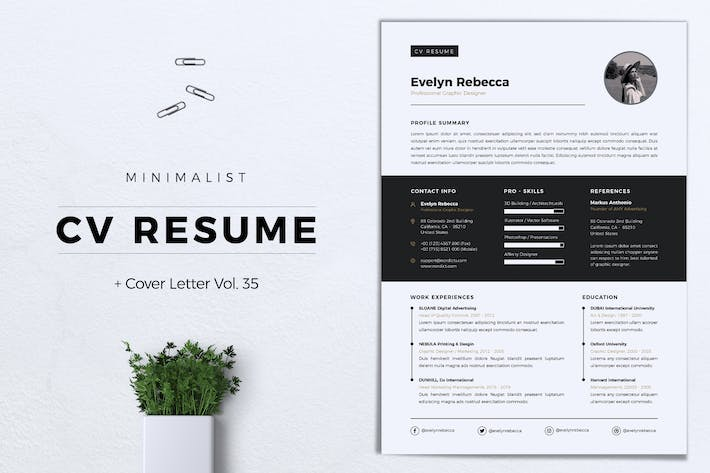Thumbnail for Minimalist CV Resume Vol. 35
