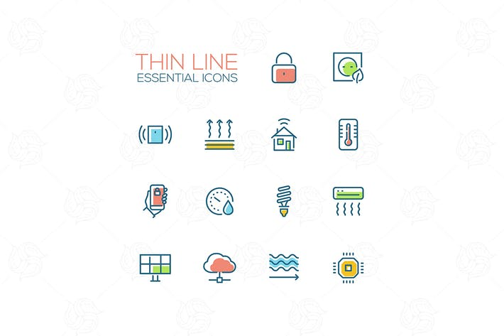 Thumbnail for Smart House - Thin Single Line Icons Set