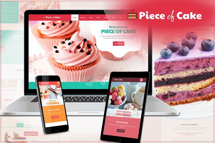 Thumbnail for Piece of Cake - Responsive HTML5 Template