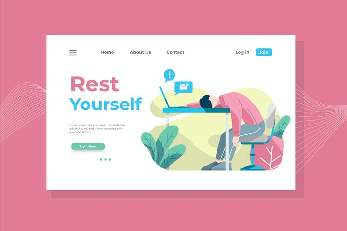 Cover Image For Rest Yourself Landing Page Illustration