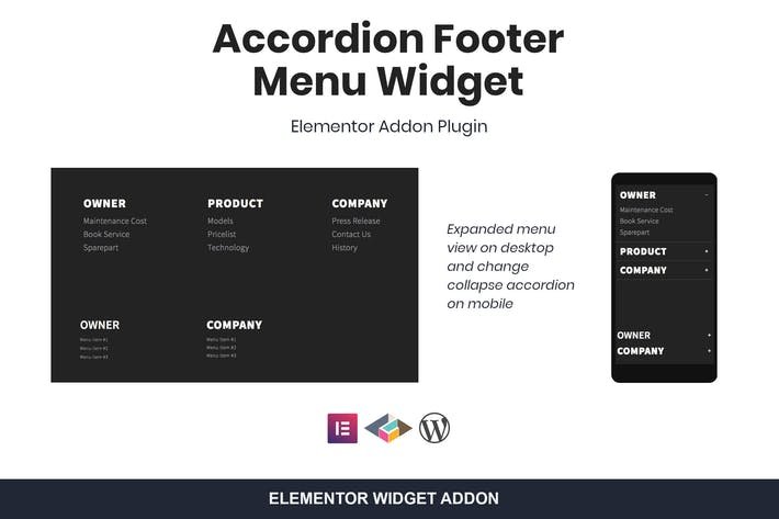 Thumbnail for Accordion Footer Menu Widget For Elementor