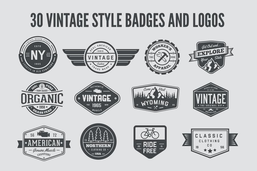 30 Vintage Style Badges and Logos