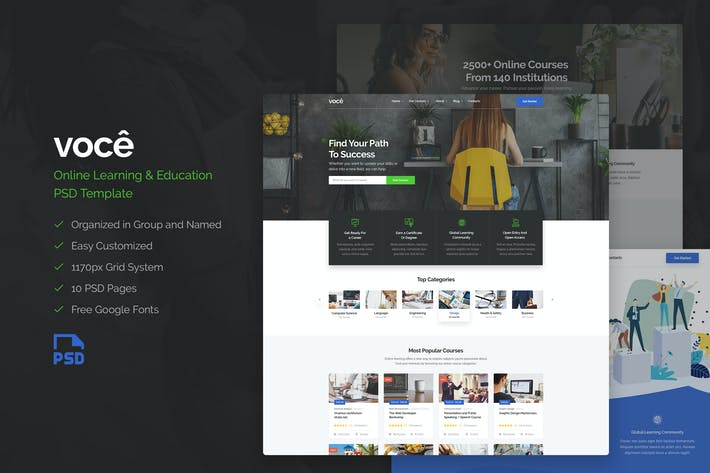 Thumbnail for VOCE - Online Learning & Education PSD Template