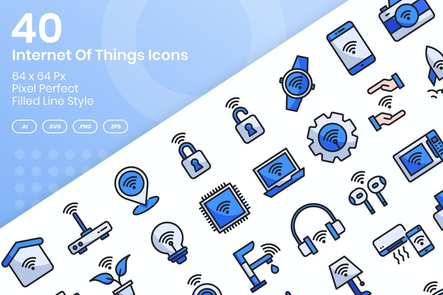 40 Internet Of Things Icons Set - Filled Line