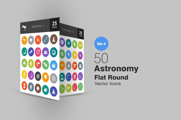 Cover Image For 50 Astronomy Flat Round Icons