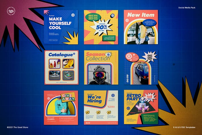 Thumbnail for Retrowave 90s Social Media Pack